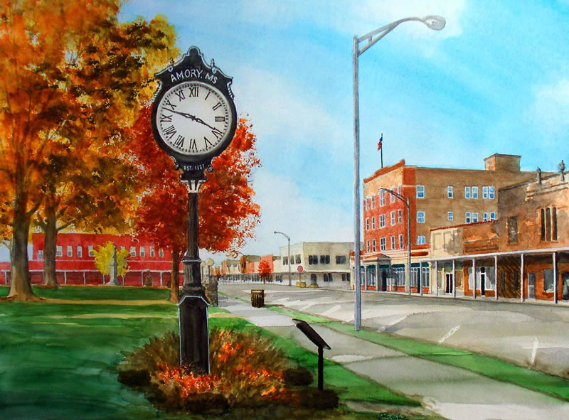 Clock In City Park Amory Ms